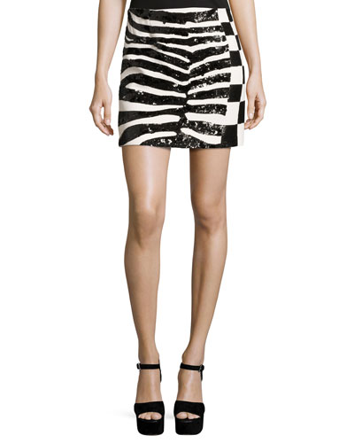 Sequined Zebra & Checker Miniskirt, Black