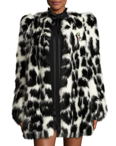 Leopard-Print Faux-Fur Coat, Black