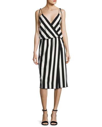 Striped Crepe Slip Dress, Black/White