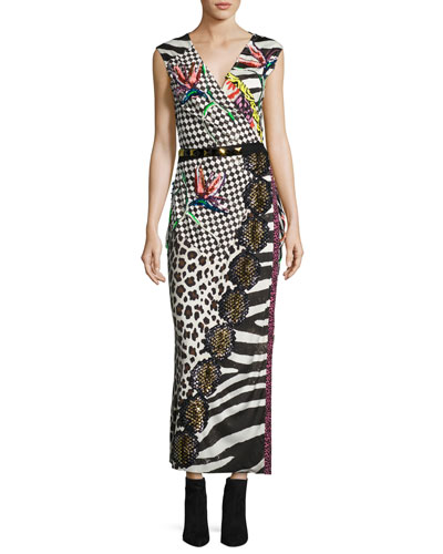 Sequined Mixed-Print Wrap Dress, Black/Multi