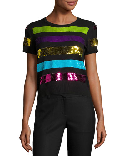 Sequin-Striped Short-Sleeve Sweater, Black