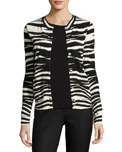 Zebra-Print Merino Wool Cardigan, Black/White