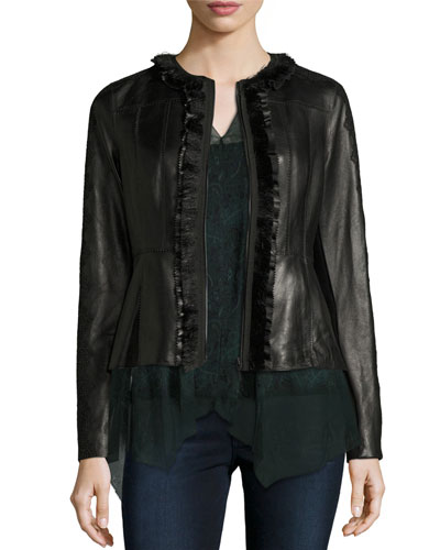 Cam Crochet-Trim Leather Peplum Jacket, Black