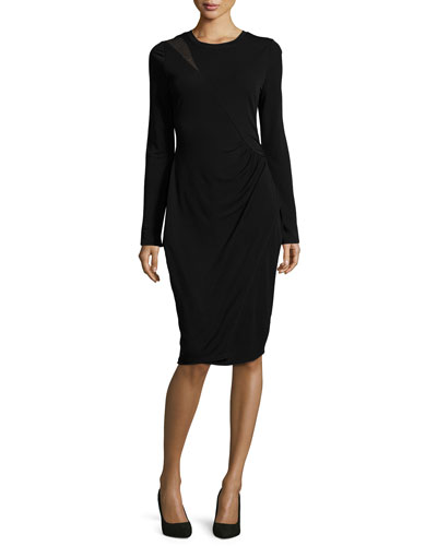 Sinaya Long-Sleeve Cocktail Dress, Black