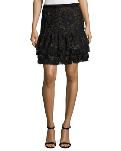 Chantelle Ruffled Miniskirt, Black
