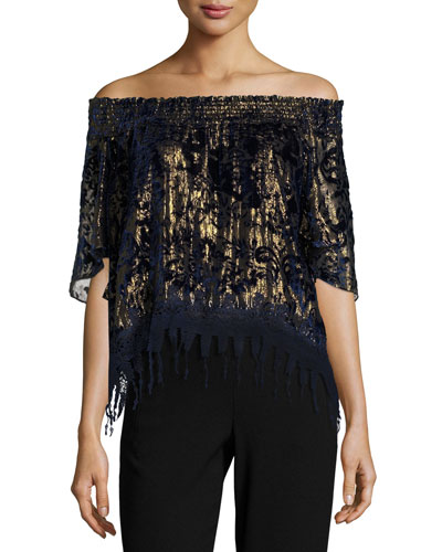 Calliope Metallic Off-the-Shoulder Blouse, Blue/Gold Multi