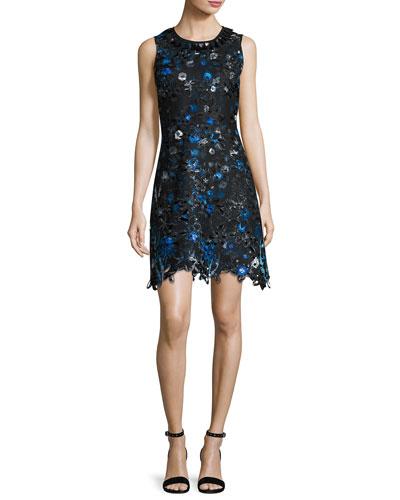 Elisha Sleeveless Floral-Lace Dress, Cobalt Multi