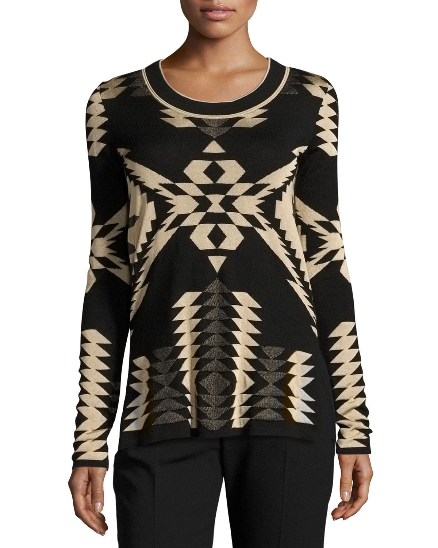 Geometric Jacquard Tunic Sweater, Black