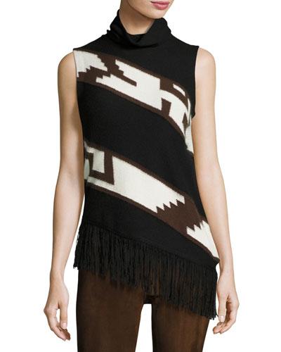 Southwester Intarsia Turtleneck Sweater, Black/Brown