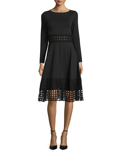 Lace-Panel Long-Sleeve Dress, Black