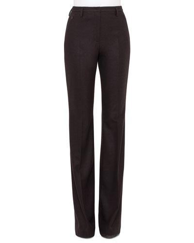 Farrah Stretch-Flannel Boot-Cut Pants, Date