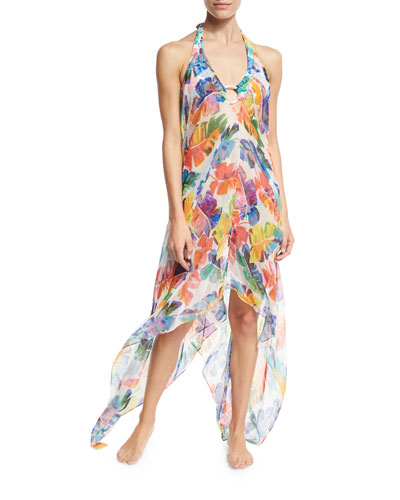 Katrina Banana Leaf Chiffon Coverup Dress, Multicolor