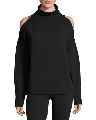 Keystone Cold-Shoulder Funnel-Neck Sweatshirt, Black