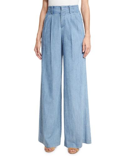 Eloise Pleat-Front Wide-Leg Denim Pants