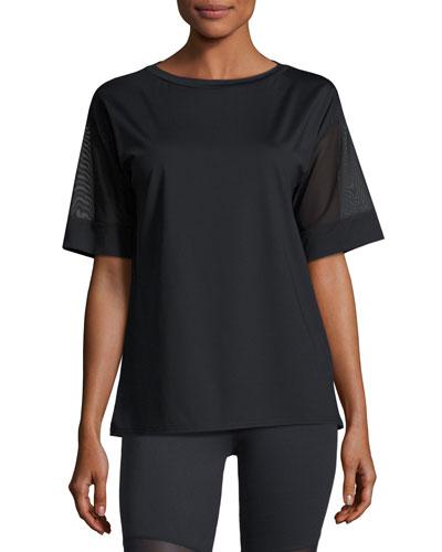 Rutline Mesh-Sleeve Performance Tee, Black