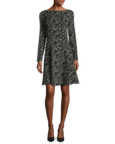 Reversible Jacquard Long-Sleeve Dress, Black/Ivory