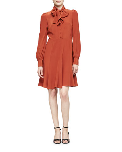 Long-Sleeve Silk Tie-Neck Dress, Sienna