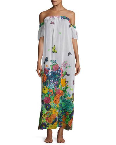 Aruba Floral-Print Silk Maxi Coverup Dress