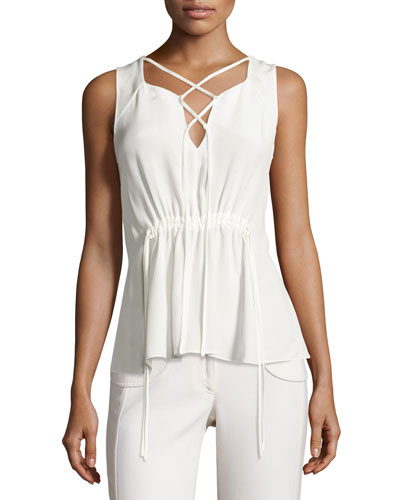 Lace-Up Drawstring Sleeveless Blouse, White