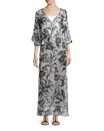 Silk Chiffon Boho Maxi Coverup Dress, White/Black