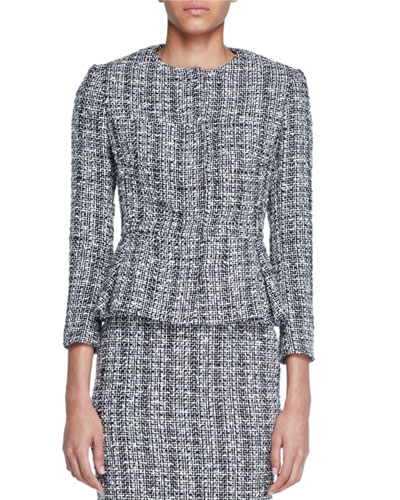 Alexander Mcqueen Lightweight Tweed Peplum Jacket Black White | Coat, Jacket and Clothing
