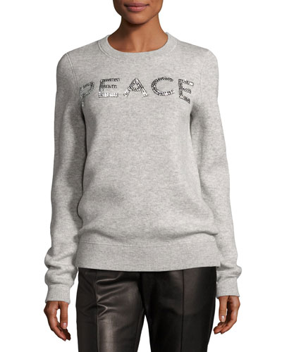 Holiday Peace Cashmere Sweater, Gray