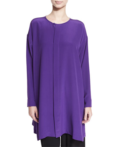 A-Line Silk Crepe Top, Purple