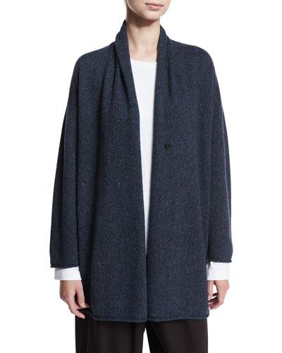 Sideways Knit Blend Sweater, Gray/Rust