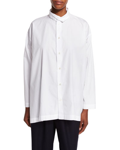 A-Line Double-Collar Shirt, White
