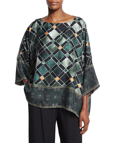 Alhambra-Print Silk T-Shirt Top, Emerald