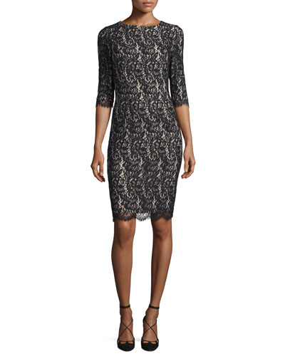 Half-Sleeve Lace Sheath Dress, Black