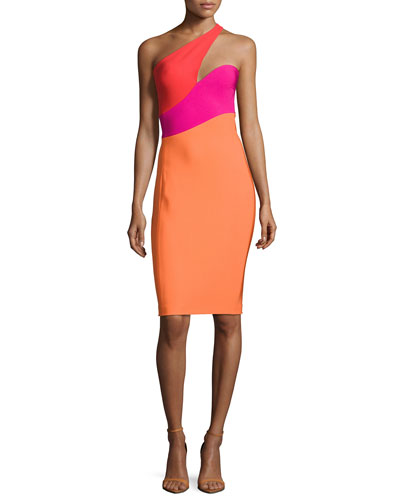 One-Shoulder Colorblock Dress, Multi