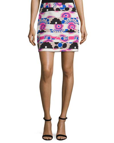 Modern-Print Banded Miniskirt, Multi