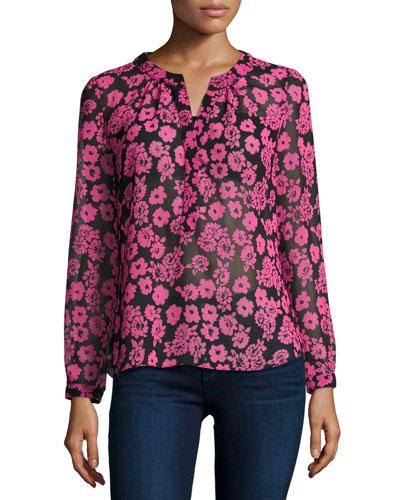 Brooke Floral-Print Chiffon Blouse, Pink