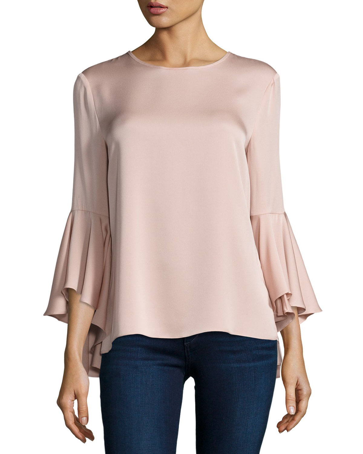 3/4-Bell-Sleeve Stretch-Silk Blouse, Light Pink