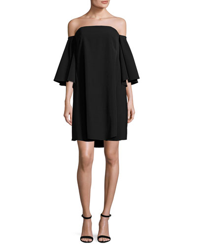 Mila Off-the-Shoulder Italian Cady Minidress, Black