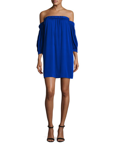 Off-the-Shoulder Stretch-Silk Shift Dress, Cobalt