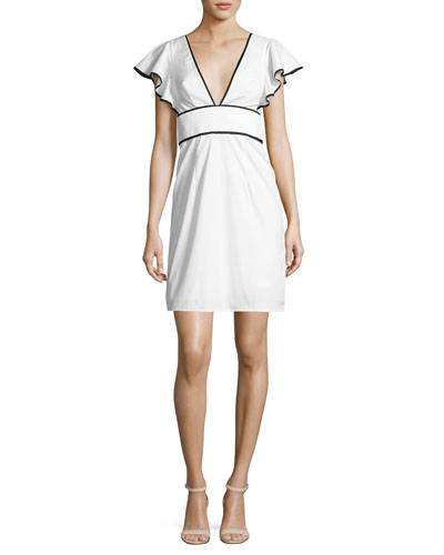 Deni Flutter-Sleeve Poplin Minidress, White