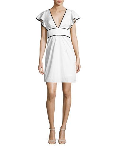 Deni Flutter-Sleeve Poplin Minidress, White