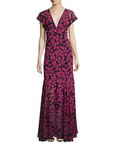 Deni Floral-Print Chiffon Maxi Dress, Pink