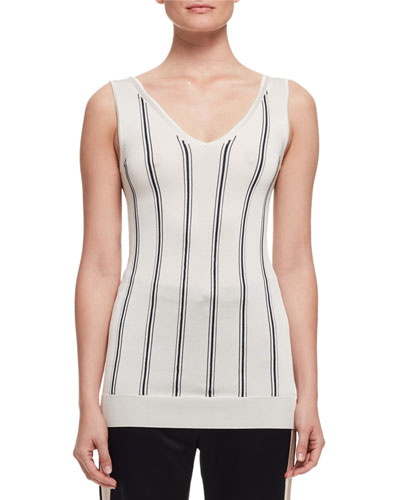 Vertical-Stripe V-Neck Tank