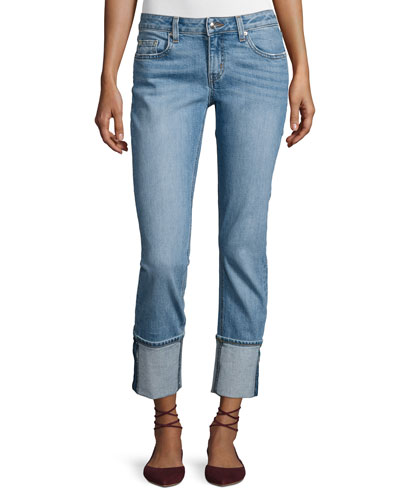 Mila Mid-Rise Cuffed Slim Boyfriend Jeans, Indigo