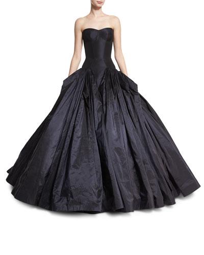 Strapless Drop-Waist Faille Ball Gown