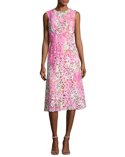 Sleeveless Neon Lace Cocktail Dress, Pink