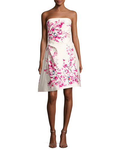 Strapless Cherry Blossom-Print Cocktail Dress, Multi