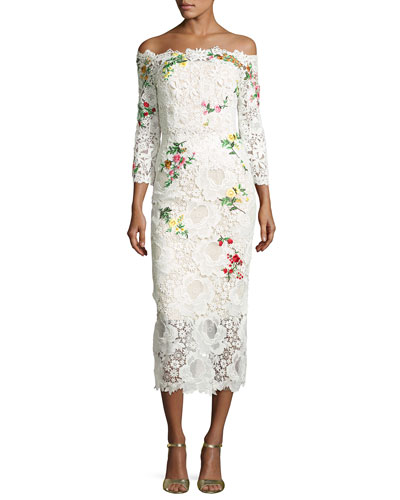Floral Lace Off-the-Shoulder Midi Dress, White/Multi