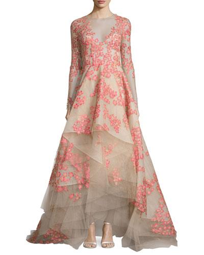 Floral-Appliqué Long-Sleeve Illusion Gown, Apricot/Nude