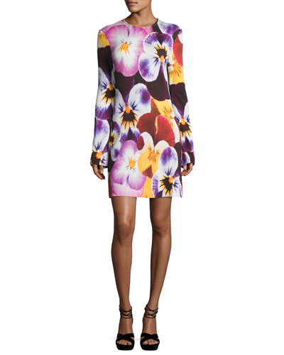 Pansy-Print Long-Sleeve Dress, Multi