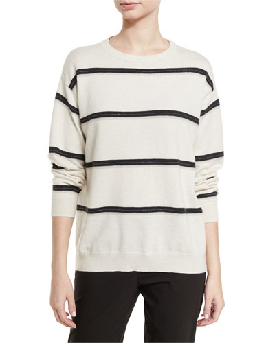 Monili-Stripe Cashmere Sweater, Beige