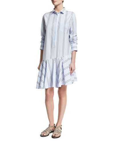 Micro-Paillette Striped Shirtdress, Light Blue